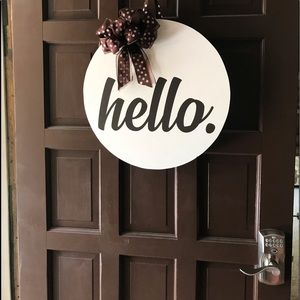 Hello Brown Round Door Wreath Sign